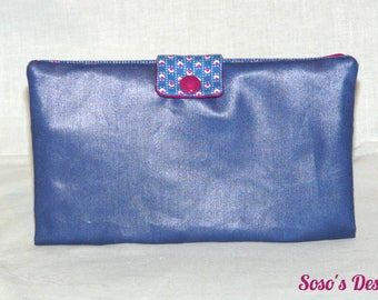 Portfolio Portecarte Portechequier, purse accessory 4 in 1 blue and plum