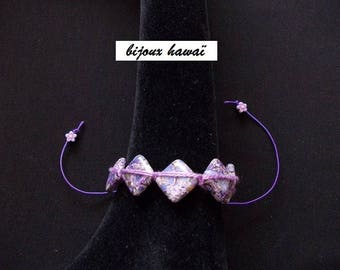 Purple Shambala bracelet with cotton yarn