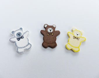 3 Teddy bear embellishment white Brown wooden and adhesive beige
