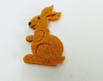 2 rabbits adhesive felt Brown 3D embossed