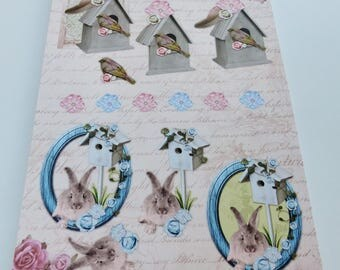 A4 paper with precut images flower rabbit bird nest nature themed Board