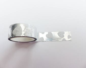masking tape silver small heart 5 mm X 3 meters washi tape