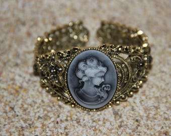 Gothic Victorian baroque gold retro vintage with Cameo