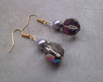 Dangling earrings with vintage glass beads and Swarovski pearls