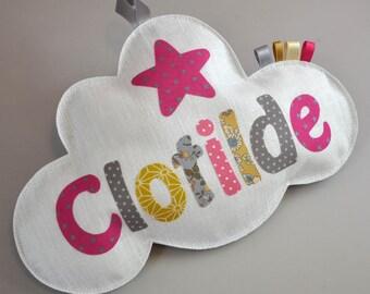 panneau de porte nuage et étoiles en lin et tissu commande réservée