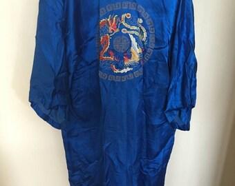 100% Silk dark blue kimono with embroidery on back