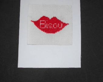 Embroidered on canvas handmade card - Kiss