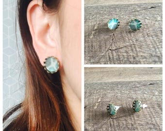Green patchwork serrated cabochon earrings