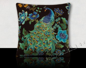 Idea gift cushion square Peacock and feathers of Peacock/flowers turquoise/yellow/green/black and gold.