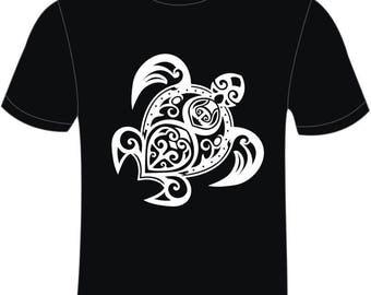 "T-shirt ""Turtle Tribal"" Black 100% cotton B & C man"
