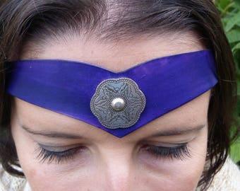 """Tiara """"decorative metal"""" tan leather purple"""