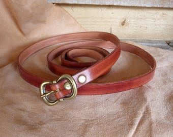 "Fine pretty ""tan"" leather belt buckle"