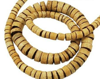 Light coffee, coconut beads, approximately 112 vegetable beads shape disc, ethnic beads, 3-7mm