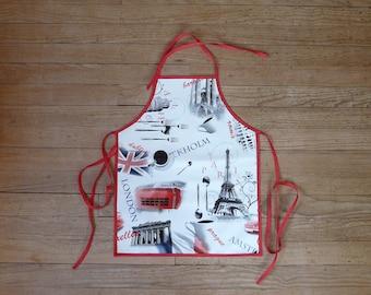 """Europe"" printed oilcloth apron"