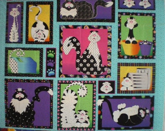 quilt in colorful patchwork cats fabric Panel