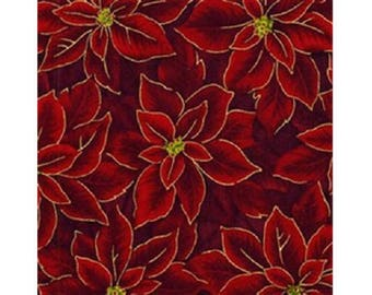 fabric patchwork red and gold leaves