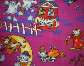 halloween cats ref2380 fuchsia background patchwork fabric