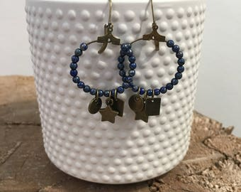 Earrings bronze and blue, blue bicone beads and pendants glass beads bronze