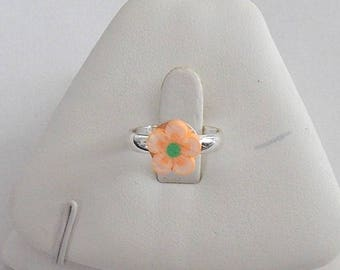 LITTLE KIDS SALMON POLYMER CLAY ADJUSTABLE RING