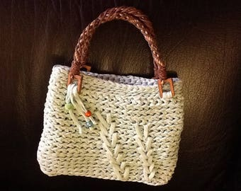 Pale green hand crocheted bag