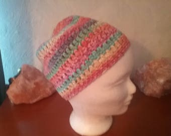 Hat Beanie crochet Rainbow look