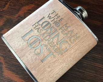 "Game of Thrones - ""The Man Who Fears Losing Has Already Lost"" - 6oz Hip Flask Laser Engraved!"
