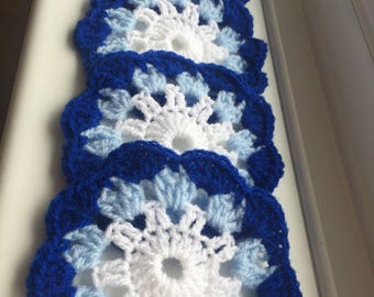 Blue/white handmade crochet coasters pack 4