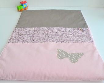 Couverture Plaid Bébé personnalisable Fait Main Papillon Liberty Mitsi Taupe et Rose @lacouturebytitia