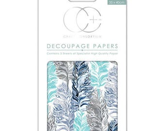 Paper patch (3 sheets) Blue feathers - CCDECP219