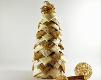 Sapling in fabric, paper and jute upcycling, three-dimensional effect pigna. Height 21 cm