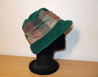 Wool Plaid and fleece Hat Green