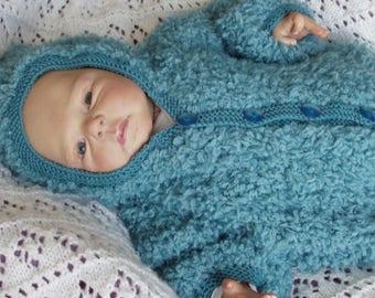 COAT, hooded jacket for newborn, bleu_vert, boy or girl, knitted by hand
