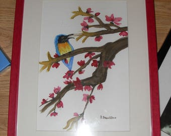 Price reduced-painting watercolor Bird on branch