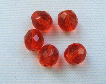Lot 5 beads 10mm faceted orange Czech glass