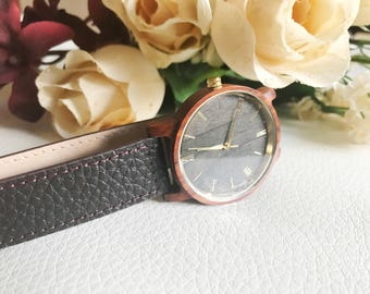 leather and red sandalwood watch