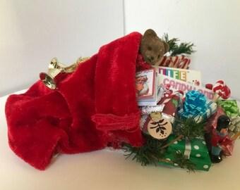 Santa's bag spilling on to the floor