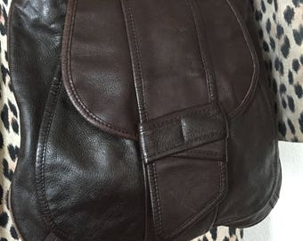 Bag in chocolate brown soft leather - very nice finishes
