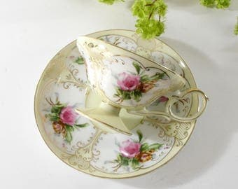 Vintage Lefton Tea Cup and Saucer, Pink Roses, Gold, Yellow, Hand Painted Bone China, Made in Japan, Replacement