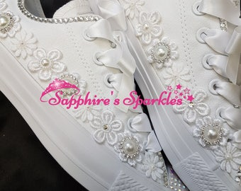 Brides Wedding Shoes Customised White Crystal Flower Converse
