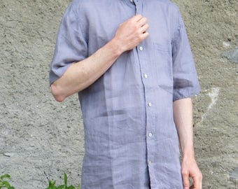 very light, grey/mauve linen shirt