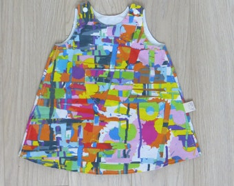 "simple cotton dress, printed ""paint stains"""