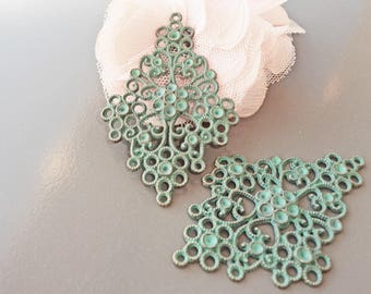 engraving filigree bronze patina green large 65 x 43 mm x 2