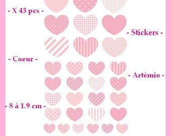 Hearts stickers - pink - 43 pcs - Artemio - from 8 to 1.9 cm - new