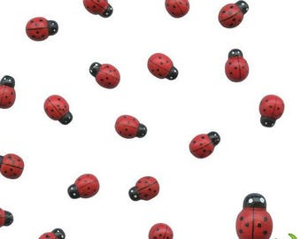 Bag of 24 beautiful ladybugs wooden painted, 1 x 0.5 cm, new