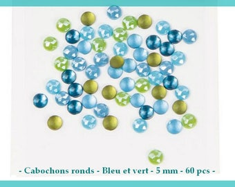 Mini round cabochons - blue and green - 5 mm / / 0.5 cm - 60 pcs - new