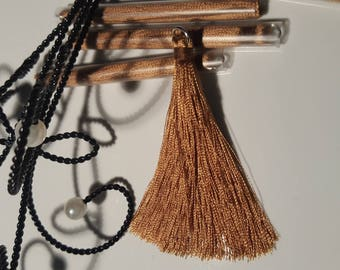 Large tassel pendant yellow mustard with ring silver