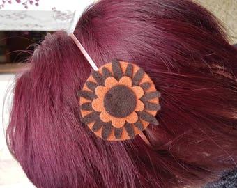 Two-tone orange brown felt hairband