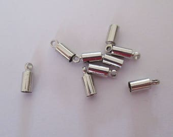 set of 2 silver 3mm caps