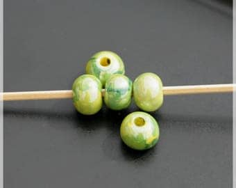 Set of 5 beads 1 cm ceramic