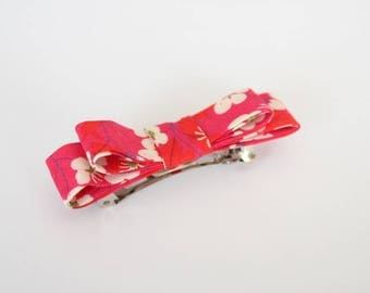 Fuchsia red Liberty Mitsi fabric bow Barrette